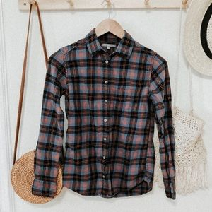 Uniqlo plaid flannel button down shirt blue red XS